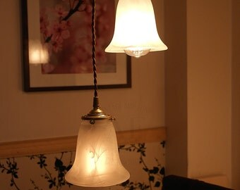 Vintage style brass socket pendant light with glass shade