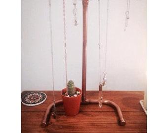 Copper pipe jewellery stand