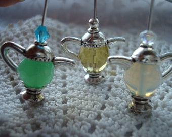 4 Sets Charming Silver TeaPot Caps (make 2pr earrings).20x8mm Dainty Antique Silver Teapots w/ Removable Exchangeable Double Beadcap Bottoms