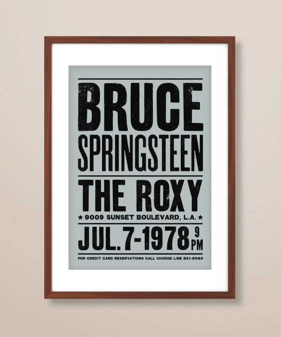 Bruce Springsteen concert poster, Bruce Springsteen art print, music print, The Roxy Theatre, concert poster, Bruce Springsteen print