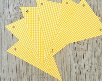 6 DIY bunting paper flags,Yellow paper flags,Yellow paper bunting birthday nursery home decor flags,Yellow wedding paper flags garland