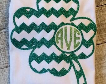 Girls St. Patrick's Day Short Sleeve Glitter monogram four leaf clover shirt