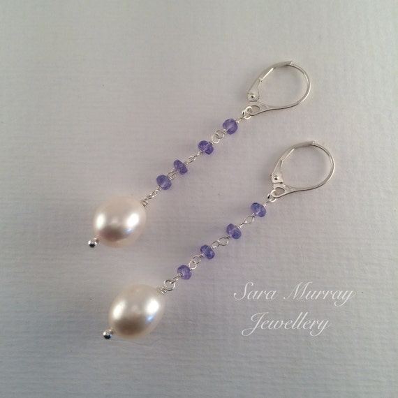 Pearl Tanzanite: Pearl And Tanzanite Drop Earrings With Sterling Silver
