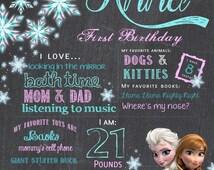 Frozen Birthday Chalkboard / Elsa Anna Olaf Frozen Birthday Party Birthday poster