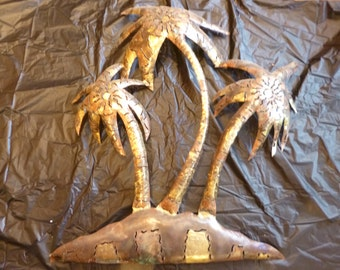 Vintage Metal Palm Trees Mexican Wall Hanging Steel and Copper Wall Art For Indoor and Outdoor Use