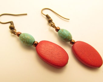 3894 -  Turquoise and Wood Earrings