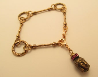 3806 - Bouddha and Zwarovski chain Bracelet
