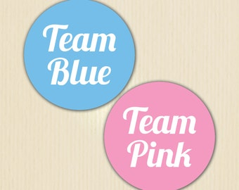 Gender Reveal Party Sticker, Team Blue, Team Pink, Baby Shower, Girl or Boy, He or She, Pink or Blue, Gender Reveal Pin, Team Boy, Team Girl