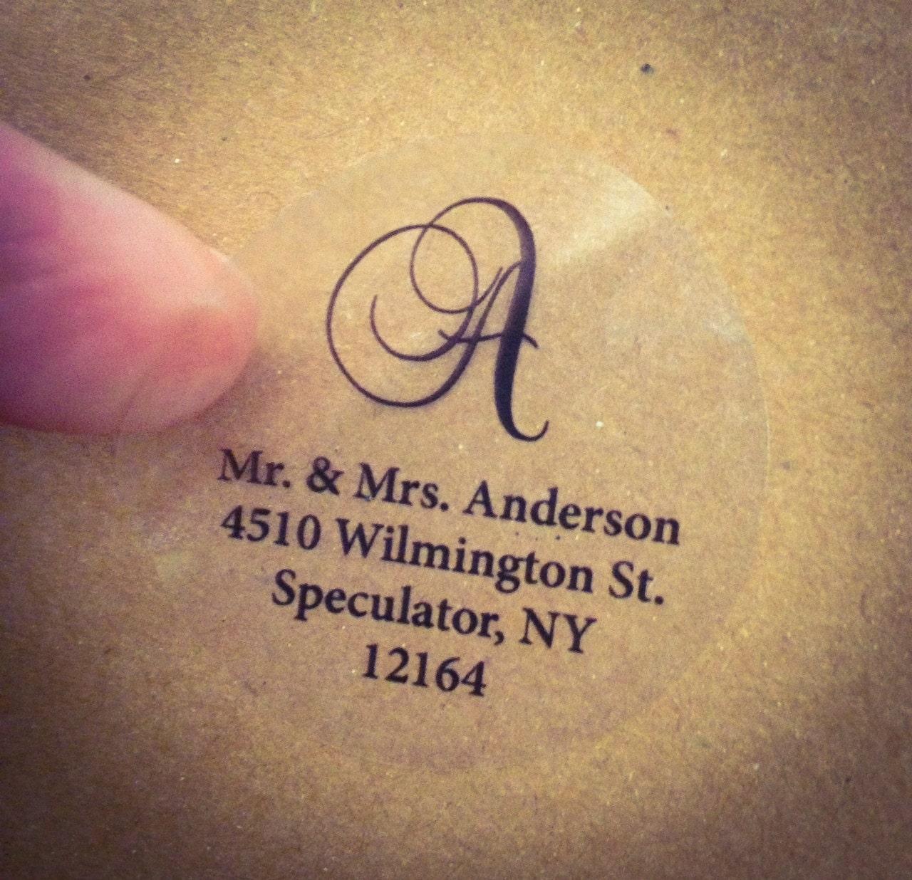clear script monogram address labels for wedding address labels zoom