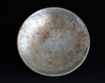 Rustic Silver leaf look glazed ceramic plate