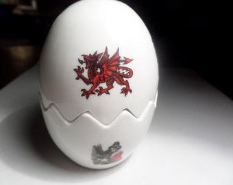 Salt and pepper set,  condiment set,   Welsh design,  Staffordshire bone china,   novelty set, Welsh dragon, lady harpist, Cymru inside,