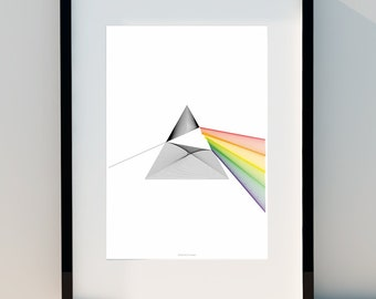 Refracted Light Inspired by Pink Floyd cover album The Dark Side of the Moon Geometric poster, Poster, wall decor, Print Design,A2, A3 or A4