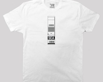 SEA – Seattle Airport Code Baggage Tag  - screen printed t-shirt - available in s, m, l, xlL and 2xl