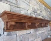 Craftsman/Victorian Fireplace Mantel Shelf, Knotty Alder,