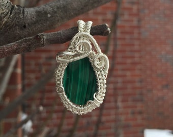 Malachite~ Sterling Silver Wire Wrap Pendent~ Artisan Jewelry~ Malachite Pendant ~Luck