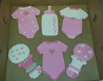 12 Baby Girl Sugar Cookies - Baby Girl Shower Dessert - Girl Baby Shower Favors