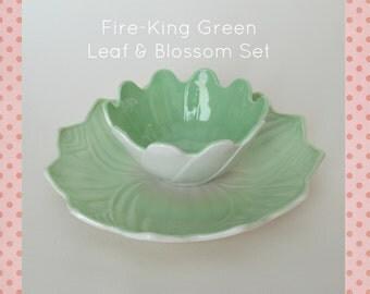Fire-King Fired Green Leaf & Blossom Set #0013