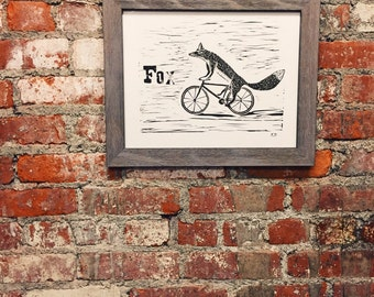 Fox Riding a Bike linocut