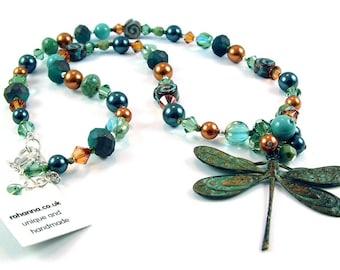 Verdigris dragonfly necklace