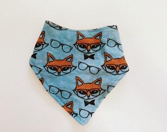 Bandanna Bib- Fox in Glasses