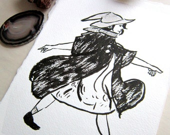 Original ink Tiny Witch Illustration