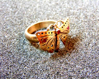 Stunning silver and rubies butterfly ring-925 silver butterfly ring-Precious stones silver ring-Gemstone ring-Women's statement ring
