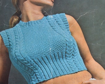 PDF vintage knitting pattern cable crop top pdf INSTANT download pattern only pdf 1970s
