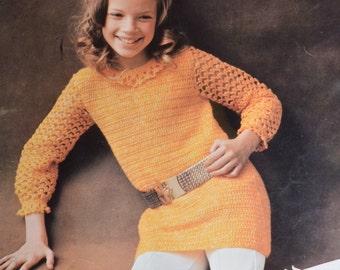 Vintage crochet pattern girls dress pdf tunic top INSTANT download crochet pattern only pdf 1970s