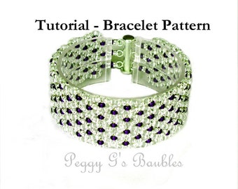 Beading Tutorial Ruffles Bracelet, Beading pattern with Superduo or Twin Beads 8/0's and 15/0's - Beaded Bracelet Pattern, PDF