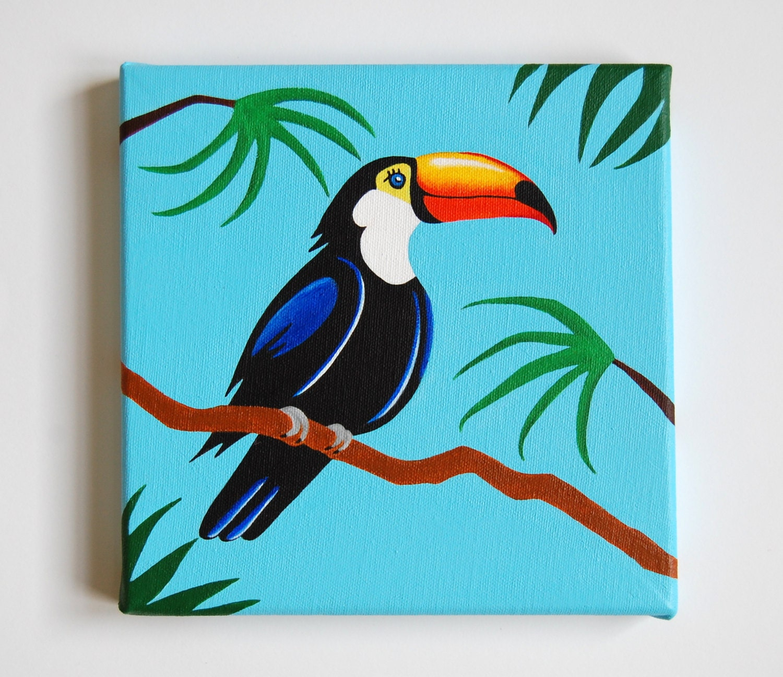 Forest Themed Bedroom Original Toucan Painting Tropical Bird Art Nursery Bird