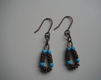 Copper Spacers with Turquoise Beads and Copper Ear Wires