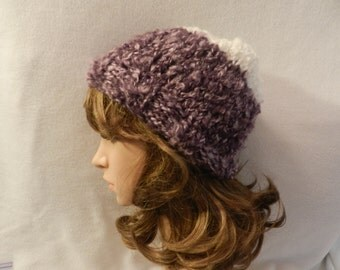Red Heart Light and Lofty Knitted Slouchy Hat V1