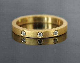 Modern diamond engagement ring, Simple engagement ring, 14k, 18k, Three diamond ring, Unique diamond ring, Thin diamond band ring