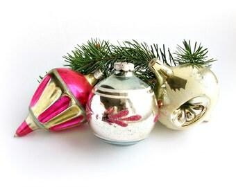 Soviet Christmas tree decoration, Set of 3 Glass Christmas tree ornaments, Christmas baubles, New Year, USSR, Soviet Union, 1970s