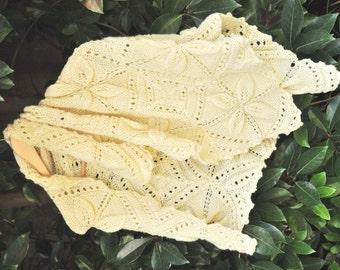 Merino wool blanket, merino wool Shawl, Hand knitted blanket, baby blanket, White blanket