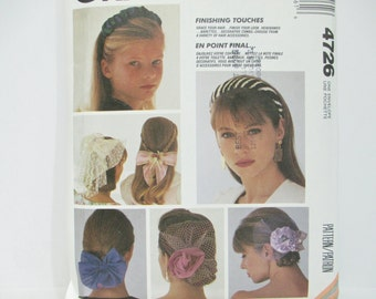 McCall's Crafts 4726 ~ Hair Accessories: Bows, Hairbands, Barrettes UNCUT 1990 Sewing Pattern