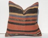 "18""Turkish cushion throw pillow kilim pillow decorative throw decorative pillow outdoor floor sham bohemian decor boho ethnic tribal accents"