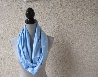 Fabric scarf, Infinity scarf, tube scarf, eternity scarf, loop scarf, long scarf,snowflakes, blue scarf, snow