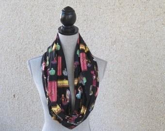 Fabric scarf, Infinity scarf, tube scarf, eternity scarf, loop scarf, black scarf, perfume bottles,