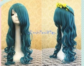 Sailor Moon Sailor Neptune Curly Cosplay Wig, Long Beautiful Blue Costume Anime Wigs for Party UF102