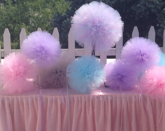 Large 12 inch  6  Tulle pom pom Party Decoration