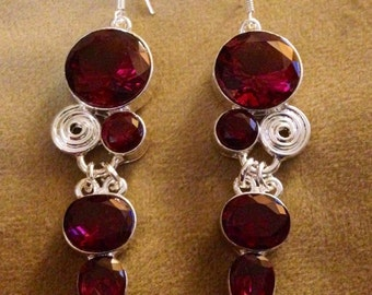 925 Sterling silver plated earrings with fuschia crystal stones