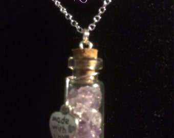 Amethyst Filled Tiny Glass Vial Pendant with Sterling Silver Chain