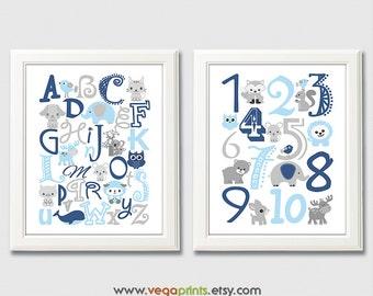 Navy, blue and grey Alphabet and numbers nursery art print - UNFRAMED - light blue, nursery wall art, kids room decor, 123, abc