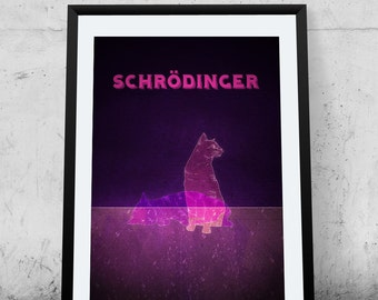 Schrodinger's cat, physics, quantum mechanics, giclee art print, science geek, wall decor