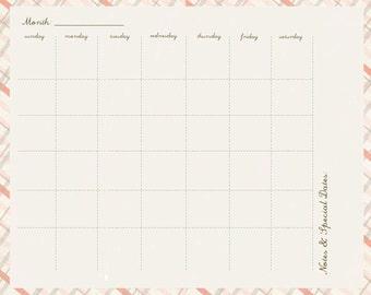 Elizabeth Monthly Calendar Page Printable