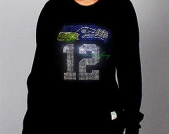 women sweatshirts hotfix rhinestones super bowl seahwaks 12th man
