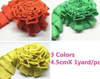 1 yard*45mm Handmade Wedding Ruffled Canvas Ribbon Trim Cotton Ribbon,3 Colors