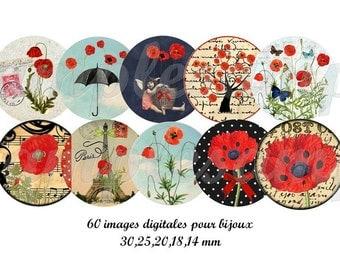 Digital collage sheet Poppy one inch circle,  digital bottle cap, printable image poppy, flower, Paris, Eiffel Tower instant download