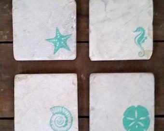 Beach Coaster Set (4) ceramic coasters, SeaHorse, Starfish, Sanddollar, conch shell